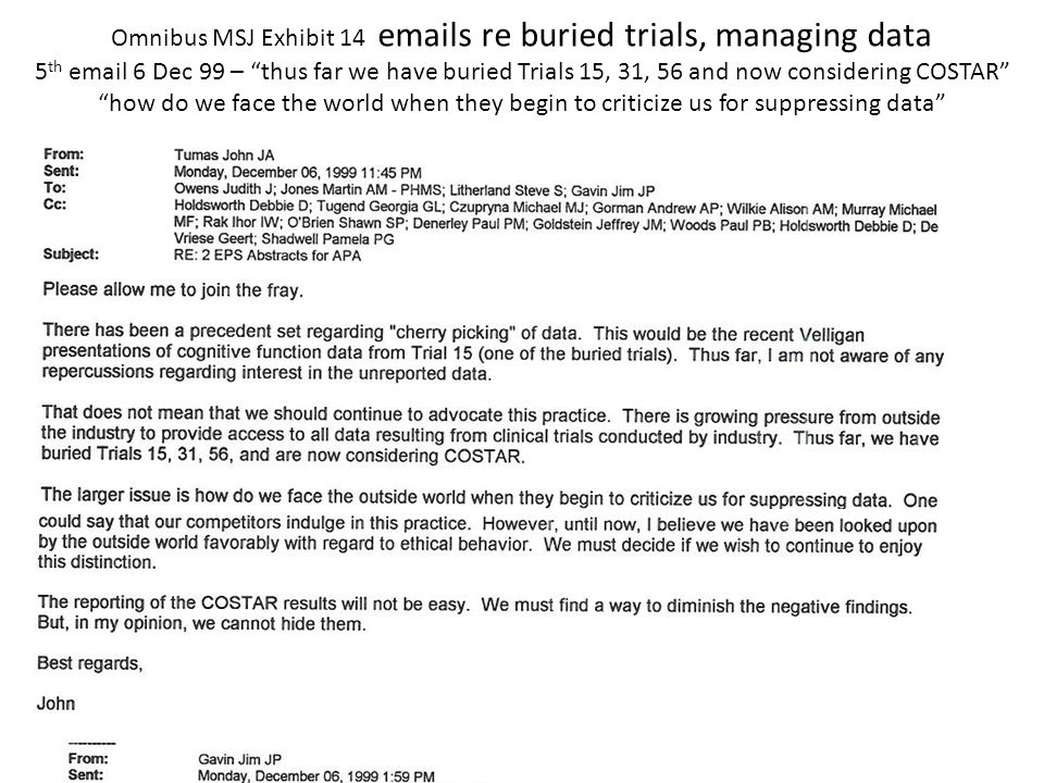 Omnibus MSJ Exhibit 14 emails re buried trials, managing data 5 th email 6 Dec 99 – thus far we have buried Trials 15, 31, 56 and now considering COSTAR how do we face the world when they begin to criticize us for suppressing data