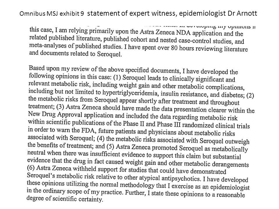 Omnibus MSJ exhibit 9 statement of expert witness, epidemiologist Dr Arnott