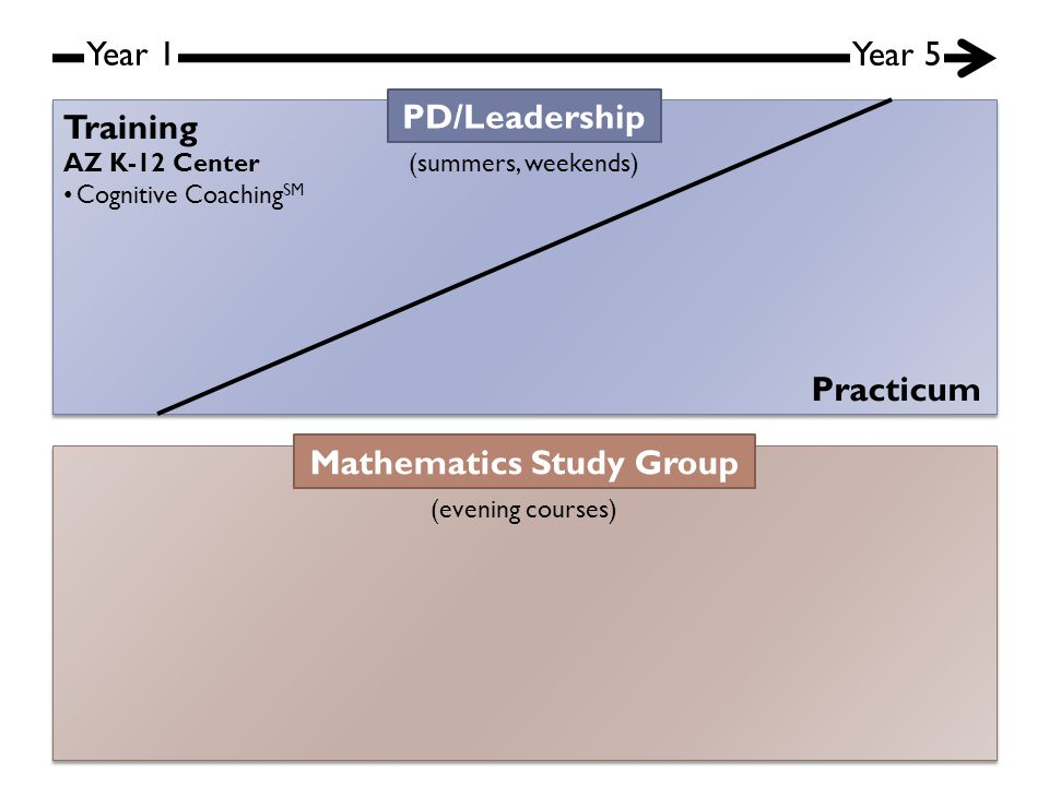 Year 1 Year 5 PD/Leadership (summers, weekends) Mathematics Study Group (evening courses) Training Practicum AZ K-12 Center Cognitive Coaching SM
