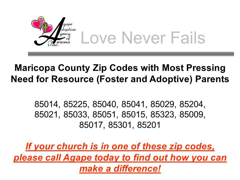 Love Never Fails Maricopa County Zip Codes with Most Pressing Need for Resource (Foster and Adoptive) Parents 85014, 85225, 85040, 85041, 85029, 85204