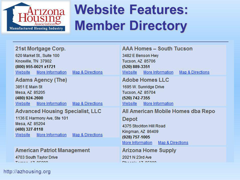 Website Features: Member Page http://azhousing.org