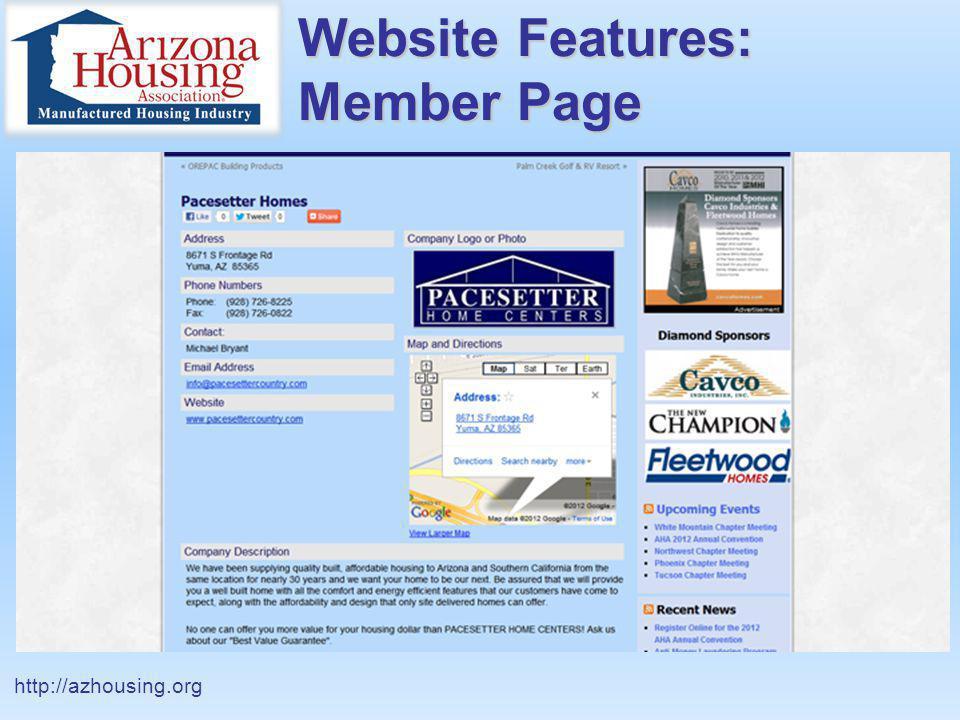 Website Features: Model Centers http://azhousing.org