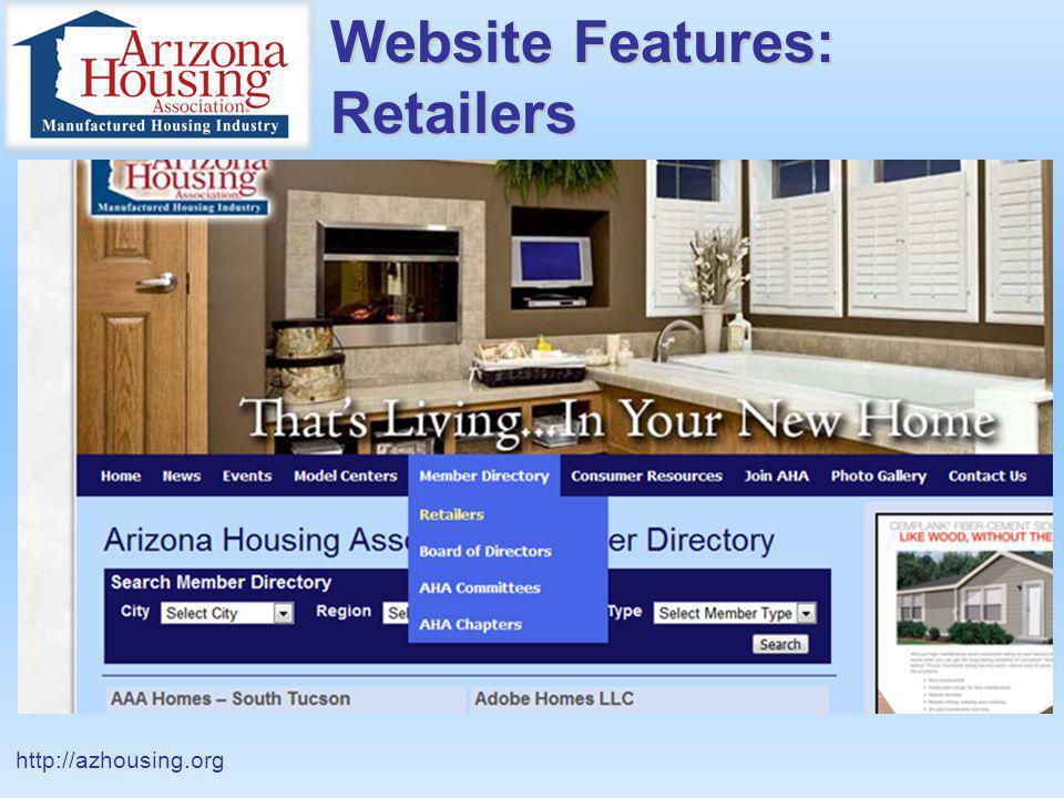 Website Features: Retailers http://azhousing.org