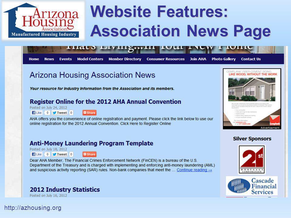 Website Features: Association News Page http://azhousing.org