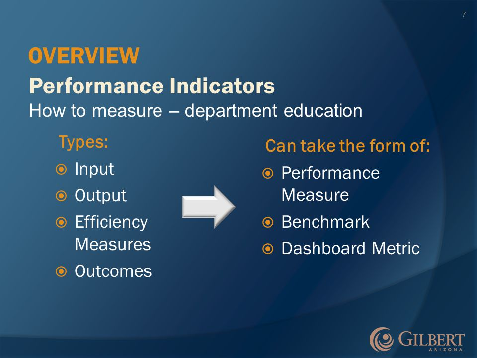 Types:  Input  Output  Efficiency Measures  Outcomes Performance Indicators How to measure – department education OVERVIEW 7 Can take the form of:  Performance Measure  Benchmark  Dashboard Metric