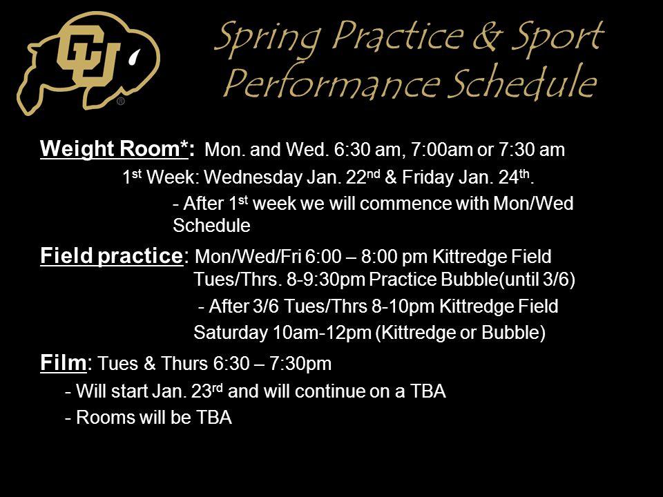 Spring Practice & Sport Performance Schedule Weight Room*: Mon.