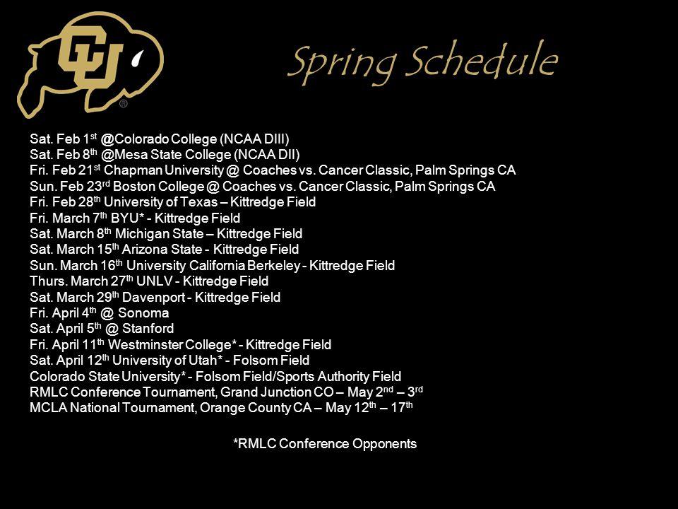 Spring Schedule Sat. Feb 1 st @Colorado College (NCAA DIII) Sat.