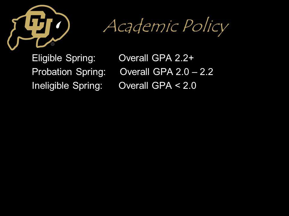 Academic Policy Eligible Spring: Overall GPA 2.2+ Probation Spring: Overall GPA 2.0 – 2.2 Ineligible Spring:Overall GPA < 2.0
