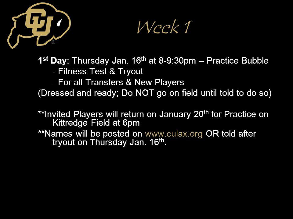 Week 1 1 st Day: Thursday Jan.