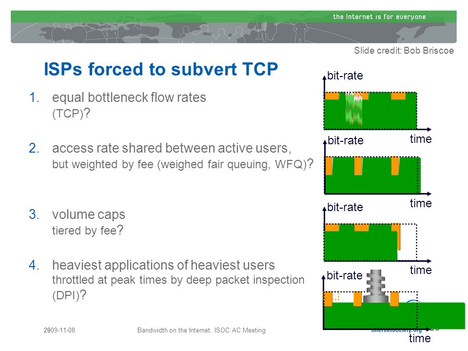 29 ISPs forced to subvert TCP 1.equal bottleneck flow rates (TCP) .