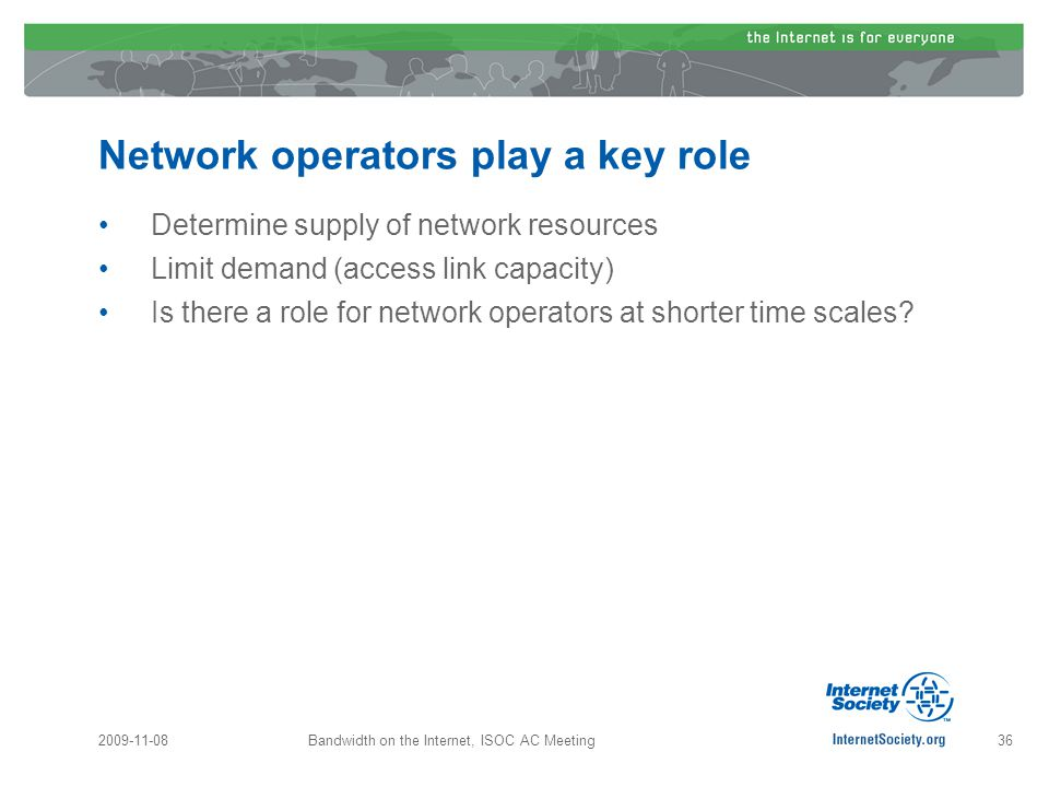 Network operators play a key role Determine supply of network resources Limit demand (access link capacity) Is there a role for network operators at shorter time scales.