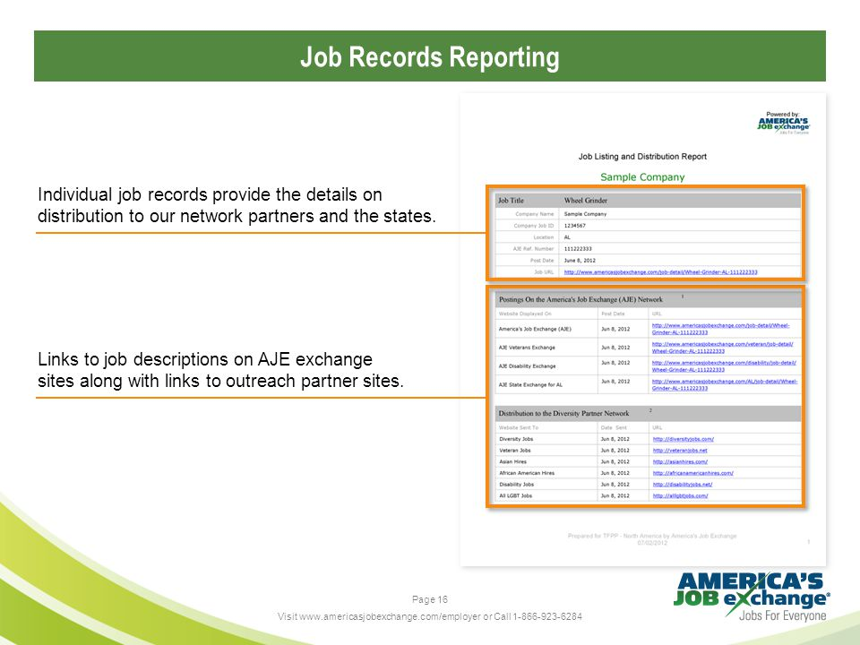 Page 16 Visit www.americasjobexchange.com/employer or Call 1-866-923-6284 Job Records Reporting Links to job descriptions on AJE exchange sites along with links to outreach partner sites.
