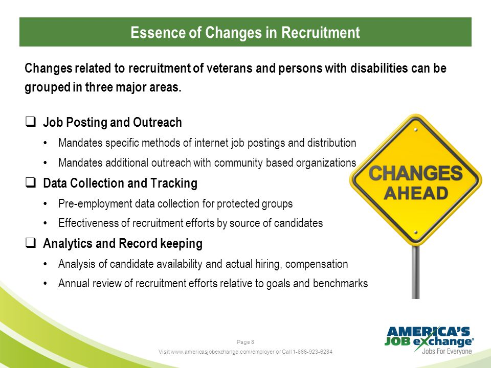 Page 8 Visit www.americasjobexchange.com/employer or Call 1-866-923-6284  Job Posting and Outreach Mandates specific methods of internet job postings and distribution Mandates additional outreach with community based organizations  Data Collection and Tracking Pre-employment data collection for protected groups Effectiveness of recruitment efforts by source of candidates  Analytics and Record keeping Analysis of candidate availability and actual hiring, compensation Annual review of recruitment efforts relative to goals and benchmarks Changes related to recruitment of veterans and persons with disabilities can be grouped in three major areas.