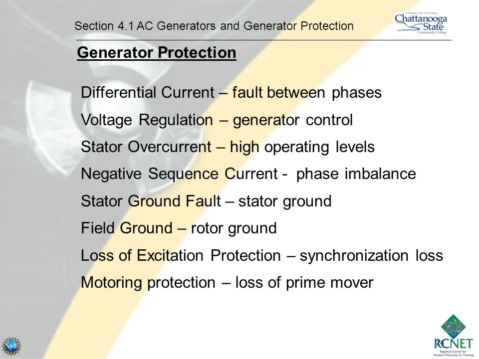 14 Section 4.1 AC Generators and Generator Protection Generator Protection Differential Current – fault between phases Voltage Regulation – generator control Stator Overcurrent – high operating levels Negative Sequence Current - phase imbalance Stator Ground Fault – stator ground Field Ground – rotor ground Loss of Excitation Protection – synchronization loss Motoring protection – loss of prime mover