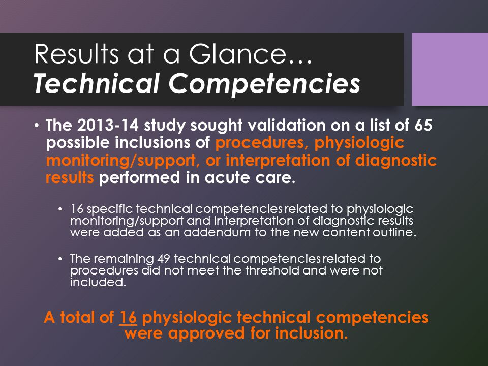 Results at a Glance… Technical Competencies The 2013-14 study sought validation on a list of 65 possible inclusions of procedures, physiologic monitoring/support, or interpretation of diagnostic results performed in acute care.