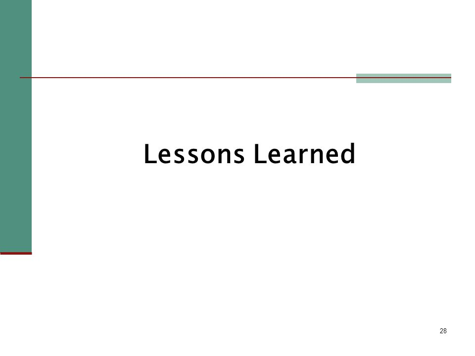 28 Lessons Learned