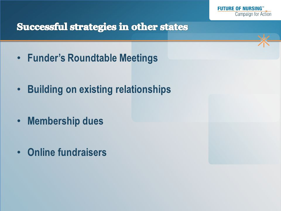 Funder's Roundtable Meetings Building on existing relationships Membership dues Online fundraisers