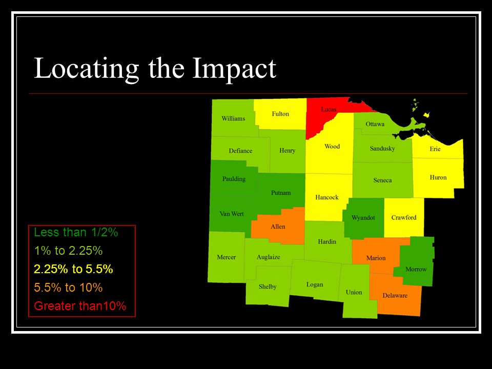Locating the Impact Less than 1/2% 1% to 2.25% 2.25% to 5.5% 5.5% to 10% Greater than10%