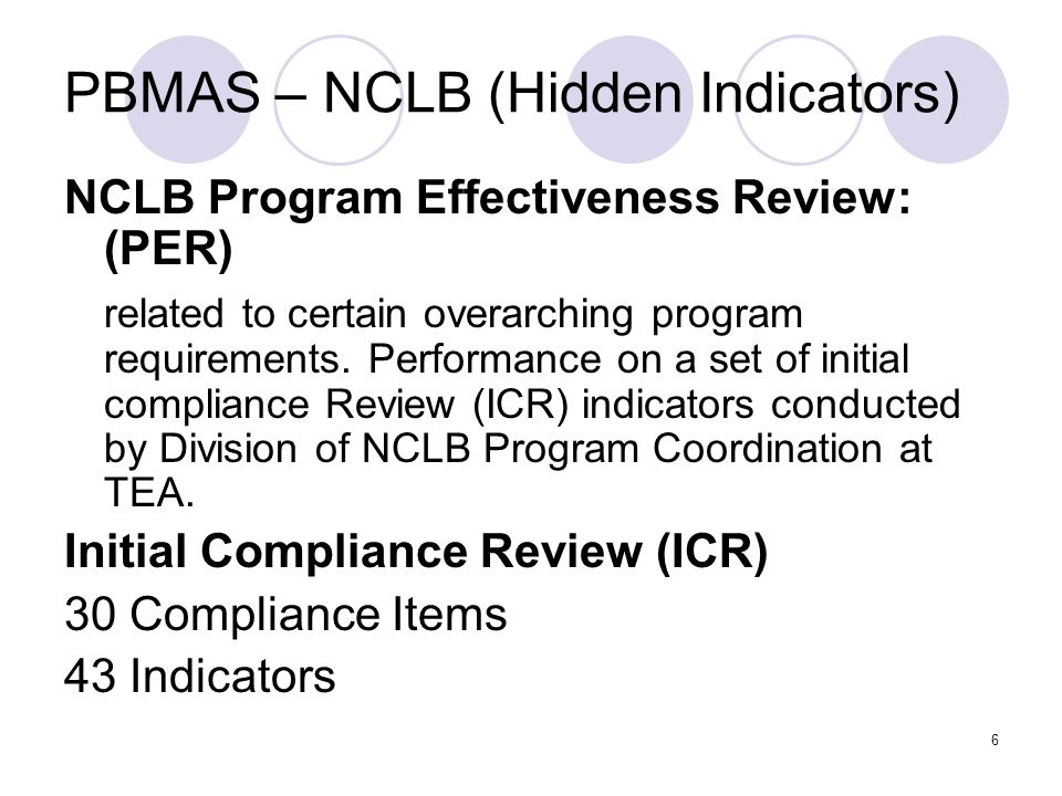 7 STEPS for Review Assemble team (DEIC) Conduct NCLB Program Effectiveness Review utilizing PER template Integrate the information from the PER template into DAP and CAPs Submit required material to TEA Due date: January 11, 2008