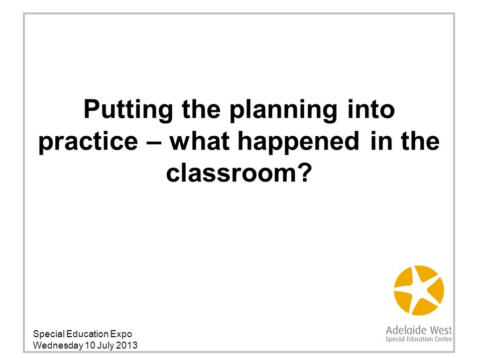 Putting the planning into practice – what happened in the classroom.