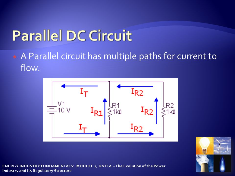 ENERGY INDUSTRY FUNDAMENTALS: MODULE 1, UNIT A --The Evolution of the Power Industry and Its Regulatory Structure  A Parallel circuit has multiple paths for current to flow.