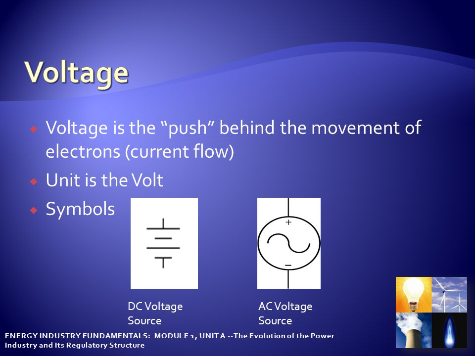 "ENERGY INDUSTRY FUNDAMENTALS: MODULE 1, UNIT A --The Evolution of the Power Industry and Its Regulatory Structure  Voltage is the ""push"" behind the m"