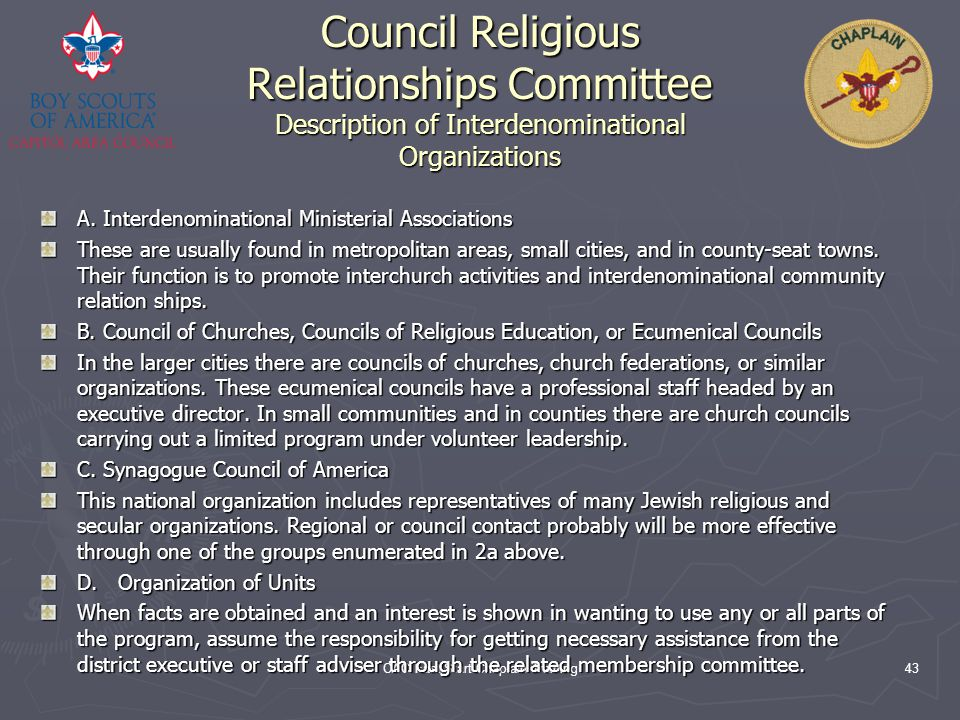 CAC Fast Start Chaplain Training43 Council Religious Relationships Committee Description of Interdenominational Organizations A. Interdenominational M