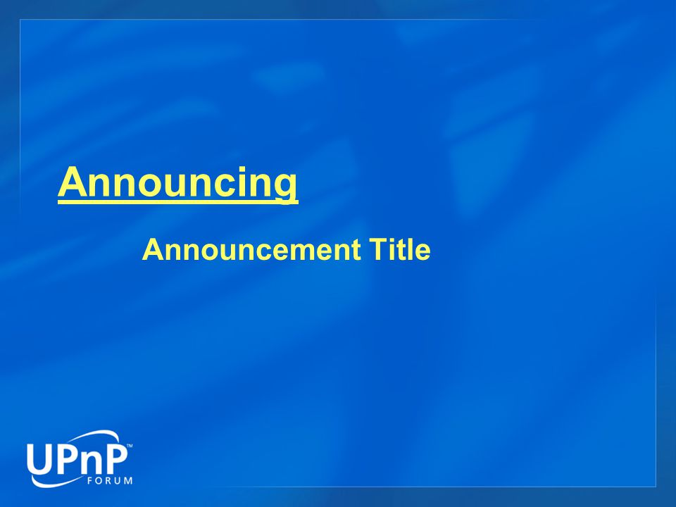Announcing Announcement Title