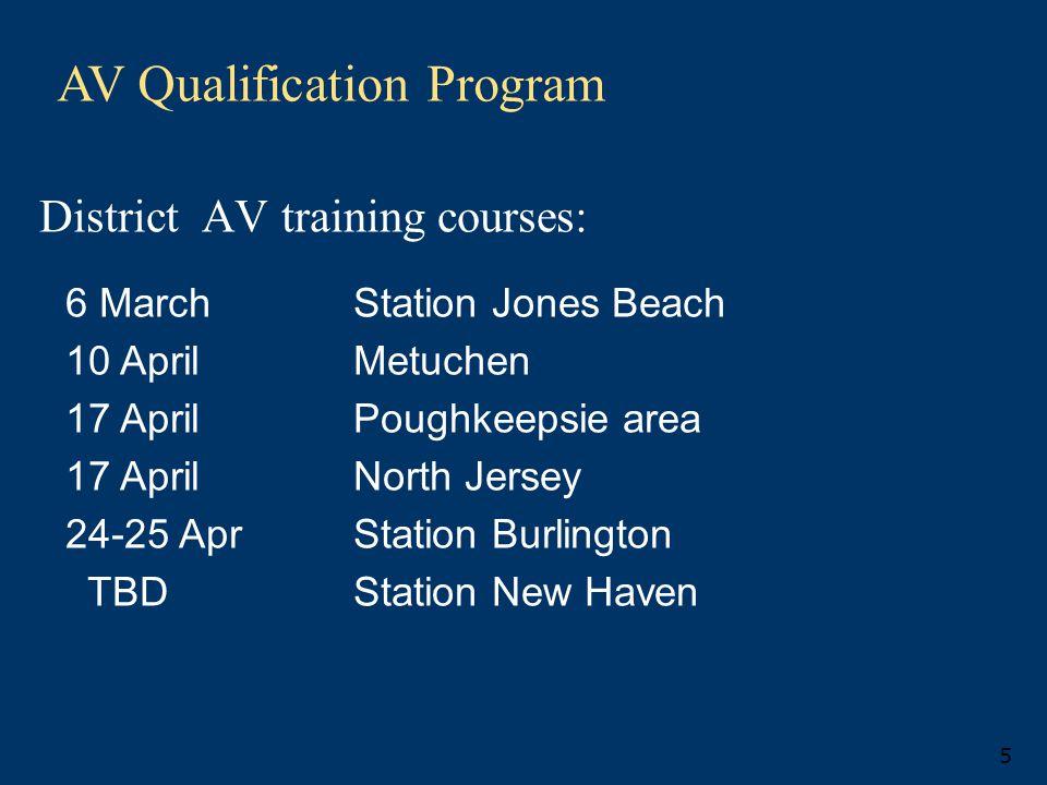 AV Qualification Program 5 District AV training courses: 6 March Station Jones Beach 10 April Metuchen 17 April Poughkeepsie area 17 AprilNorth Jersey 24-25 Apr Station Burlington TBD Station New Haven