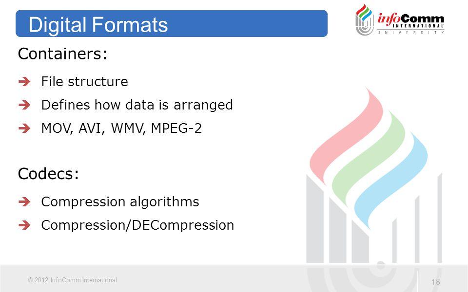 18 © 2012 InfoComm International Digital Formats Containers:  File structure  Defines how data is arranged  MOV, AVI, WMV, MPEG-2 Codecs:  Compression algorithms  Compression/DECompression