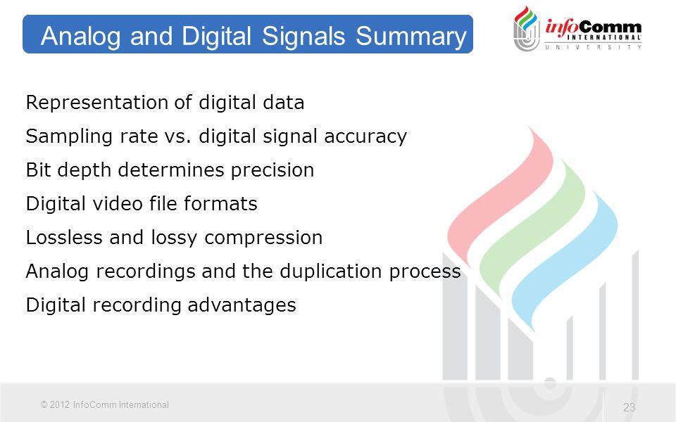 23 © 2012 InfoComm International Analog and Digital Signals Summary Representation of digital data Sampling rate vs.