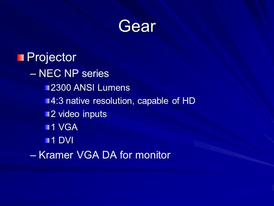 Gear Projector – –NEC NP series 2300 ANSI Lumens 4:3 native resolution, capable of HD 2 video inputs 1 VGA 1 DVI – –Kramer VGA DA for monitor