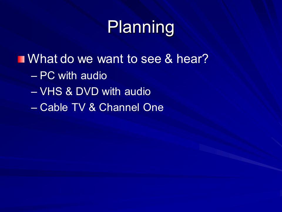 Planning What do we want to see & hear? – –PC with audio – –VHS & DVD with audio – –Cable TV & Channel One