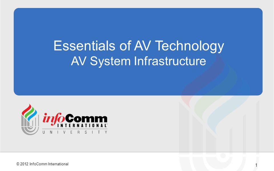 1 © 2012 InfoComm International Essentials of AV Technology AV System Infrastructure