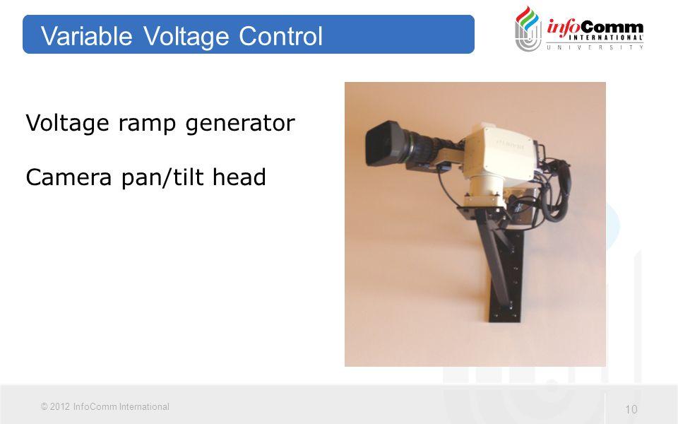 10 © 2012 InfoComm International Variable Voltage Control Voltage ramp generator Camera pan/tilt head