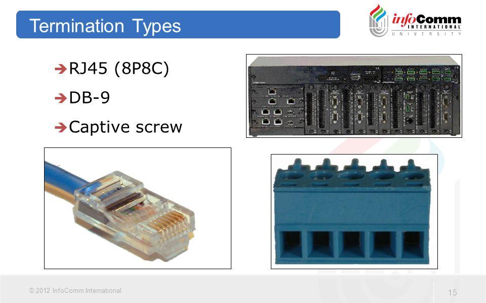 15 © 2012 InfoComm International Termination Types  RJ45 (8P8C)  DB-9  Captive screw