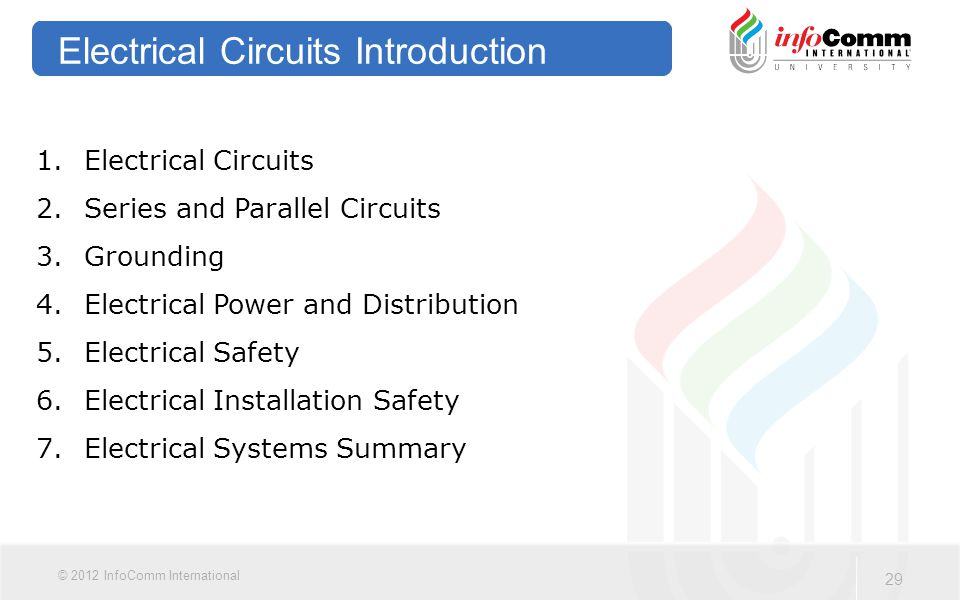 29 © 2012 InfoComm International Electrical Circuits Introduction 1.Electrical Circuits 2.Series and Parallel Circuits 3.Grounding 4.Electrical Power and Distribution 5.Electrical Safety 6.Electrical Installation Safety 7.Electrical Systems Summary