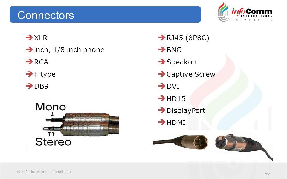 45 © 2012 InfoComm International Connectors  XLR  inch, 1/8 inch phone  RCA  F type  DB9  RJ45 (8P8C)  BNC  Speakon  Captive Screw  DVI  HD15  DisplayPort  HDMI