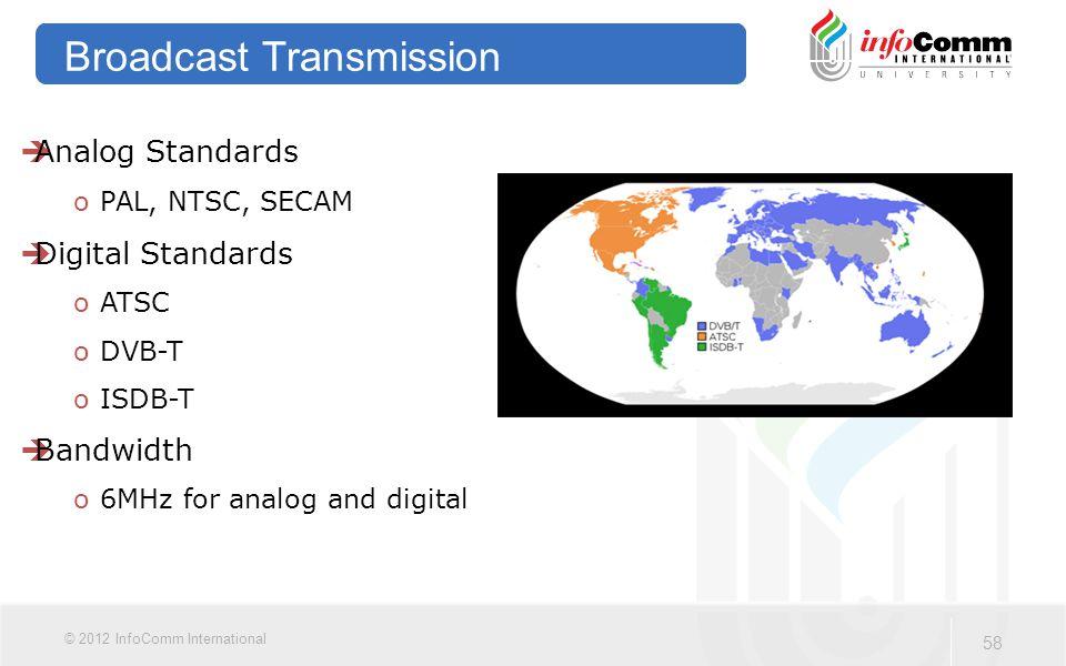 58 © 2012 InfoComm International Broadcast Transmission  Analog Standards o PAL, NTSC, SECAM  Digital Standards o ATSC o DVB-T o ISDB-T  Bandwidth o 6MHz for analog and digital