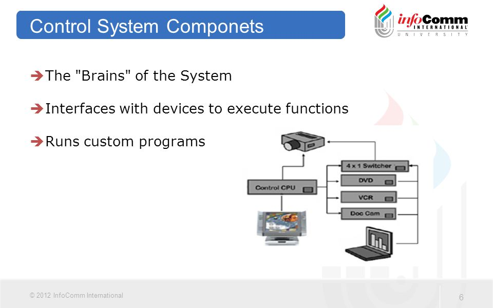 6 © 2012 InfoComm International Control System Componets  The Brains of the System  Interfaces with devices to execute functions  Runs custom programs