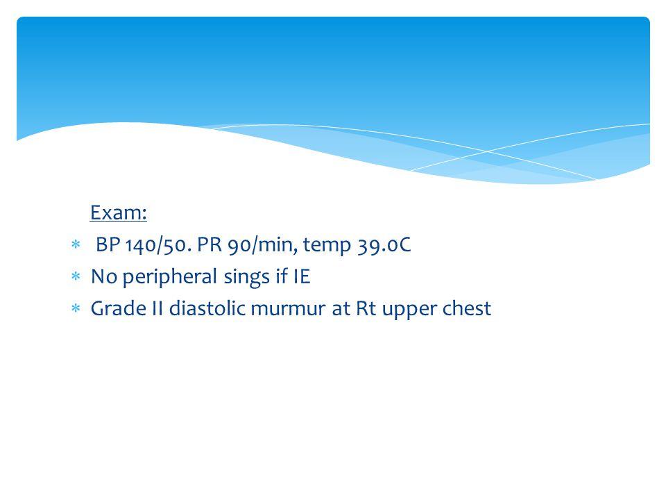 Exam:  BP 140/50.