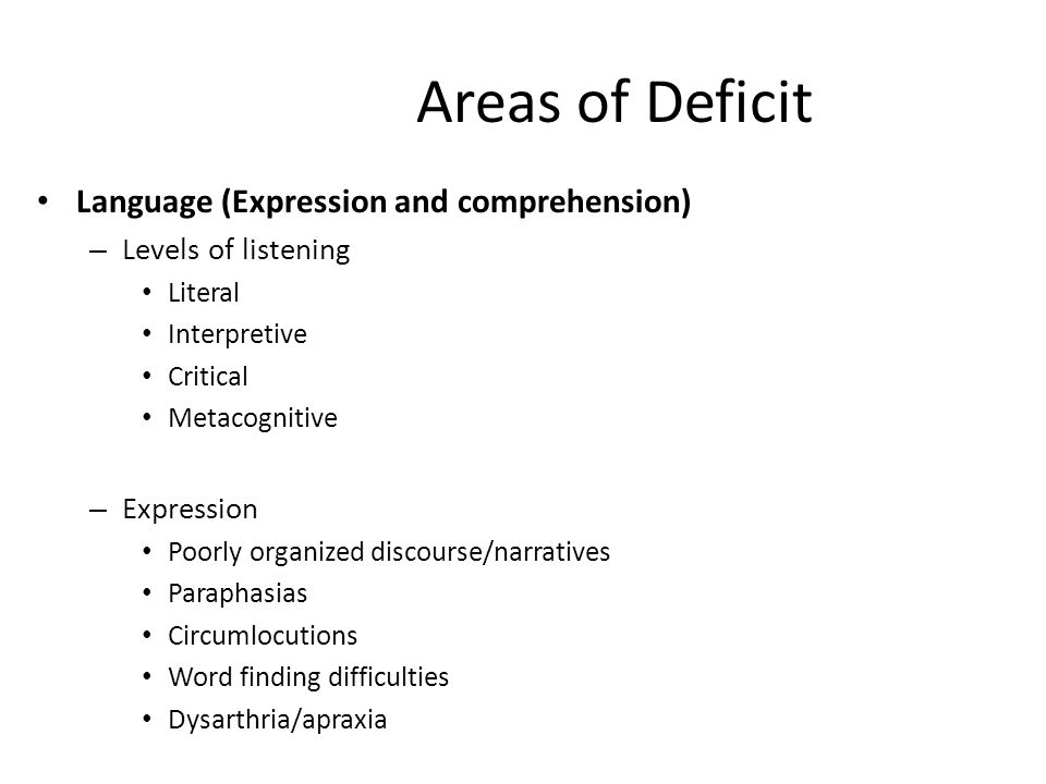 Areas of Deficit Language (Expression and comprehension) – Levels of listening Literal Interpretive Critical Metacognitive – Expression Poorly organized discourse/narratives Paraphasias Circumlocutions Word finding difficulties Dysarthria/apraxia