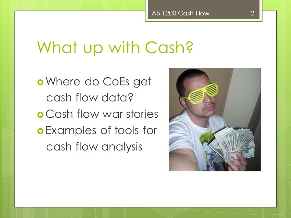 What up with Cash?  Where do CoEs get cash flow data?  Cash flow war stories  Examples of tools for cash flow analysis AB 1200 Cash Flow 2