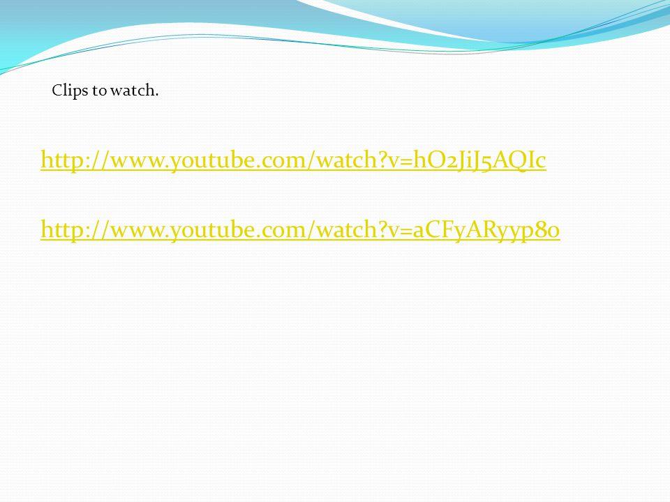 http://www.youtube.com/watch?v=hO2JiJ5AQIc http://www.youtube.com/watch?v=aCFyARyyp8o Clips to watch.