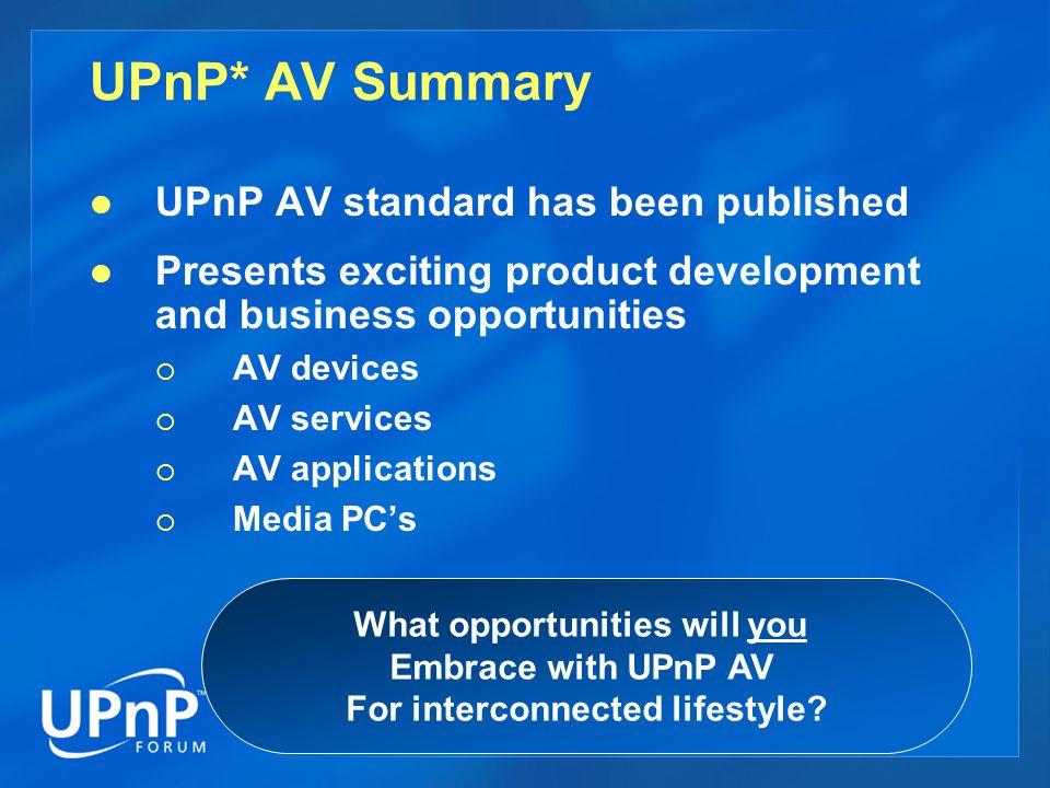 UPnP* AV Summary UPnP AV standard has been published Presents exciting product development and business opportunities  AV devices  AV services  AV applications  Media PC's What opportunities will you Embrace with UPnP AV For interconnected lifestyle