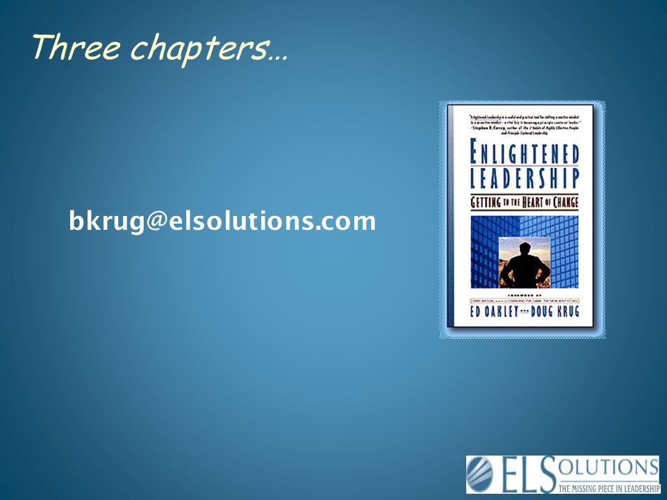 Three chapters… bkrug@elsolutions.com