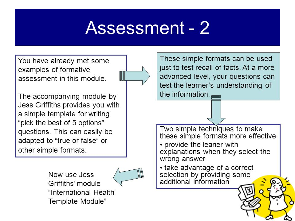 Assessment - 2 You have already met some examples of formative assessment in this module. The accompanying module by Jess Griffiths provides you with