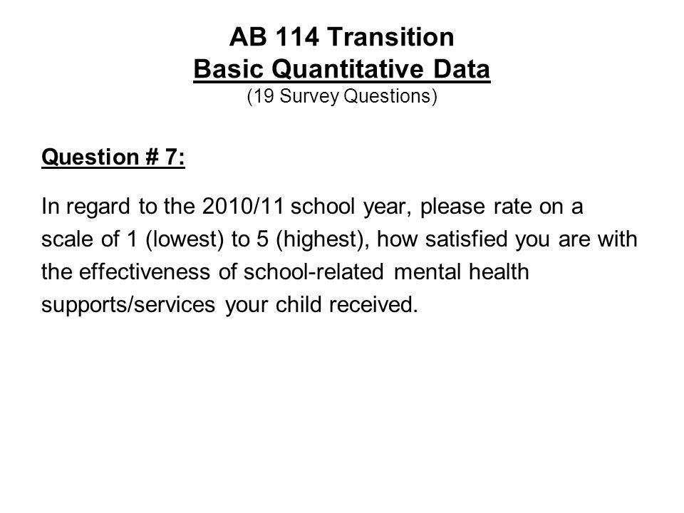 AB 114 Transition Basic Quantitative Data (19 Survey Questions) Question # 7: In regard to the 2010/11 school year, please rate on a scale of 1 (lowes