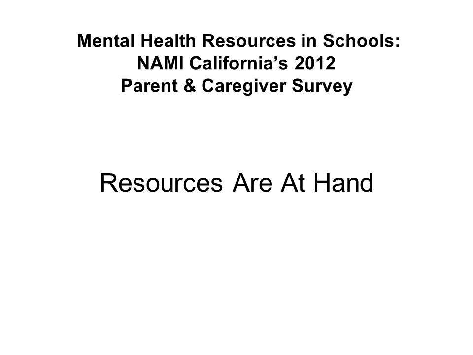 Mental Health Resources in Schools: NAMI California's 2012 Parent & Caregiver Survey Reference Materials for Workshop: 1.PowerPoint slides.