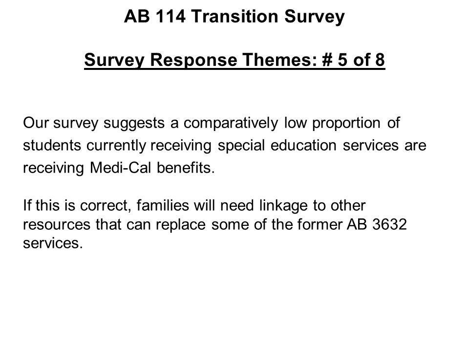 AB 114 Transition Survey Survey Response Themes: # 5 of 8 Our survey suggests a comparatively low proportion of students currently receiving special e